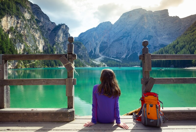 Hiking at Lago di Braies in South Tyrol