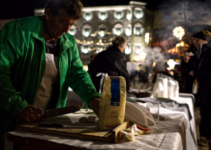 Making Krapfen at the Brixen Christmas Market