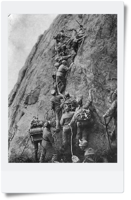 Soldiers climbing the Dolomites during World War I