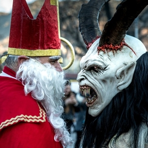 Krampus meeting St. Nicholas