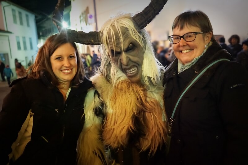 Reka and Kate with Krampus