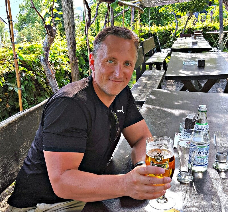 Vin enjoying a beer in Algund