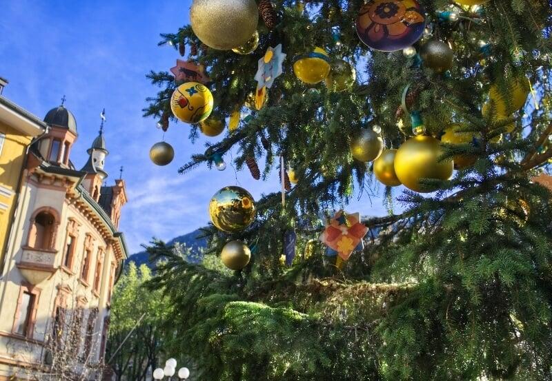 Ornaments hanging from Christmas tree in Bolzano