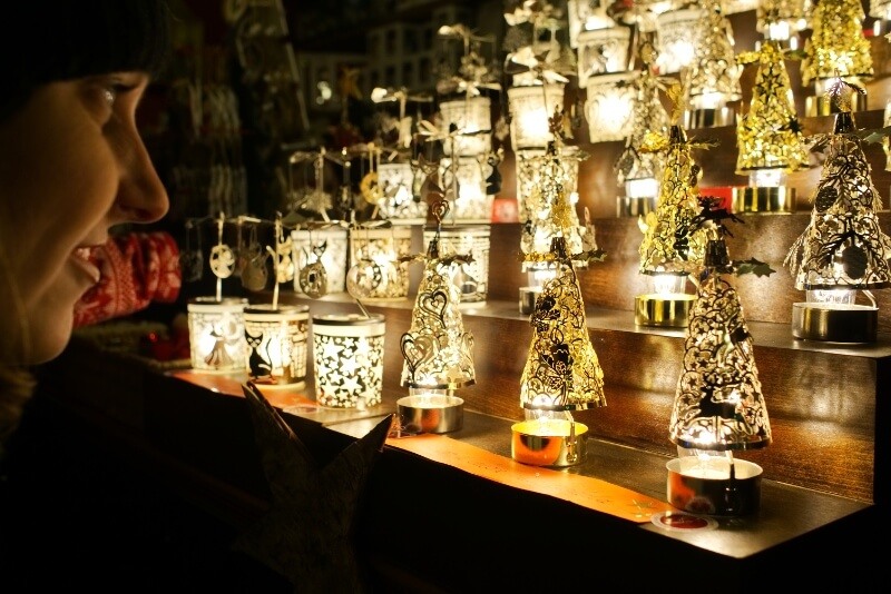 Candles at the Christmas Market in Bozen, Italy