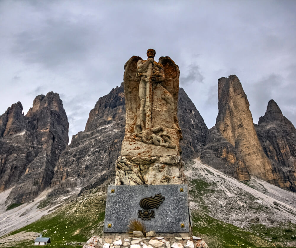 Angel of the Fallen monument at Tre Cime di Lavaredo