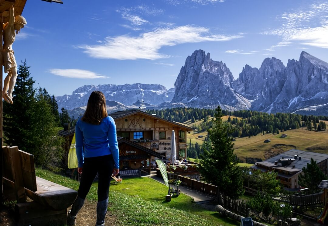 Overlooking Sassolungo in the Dolomites