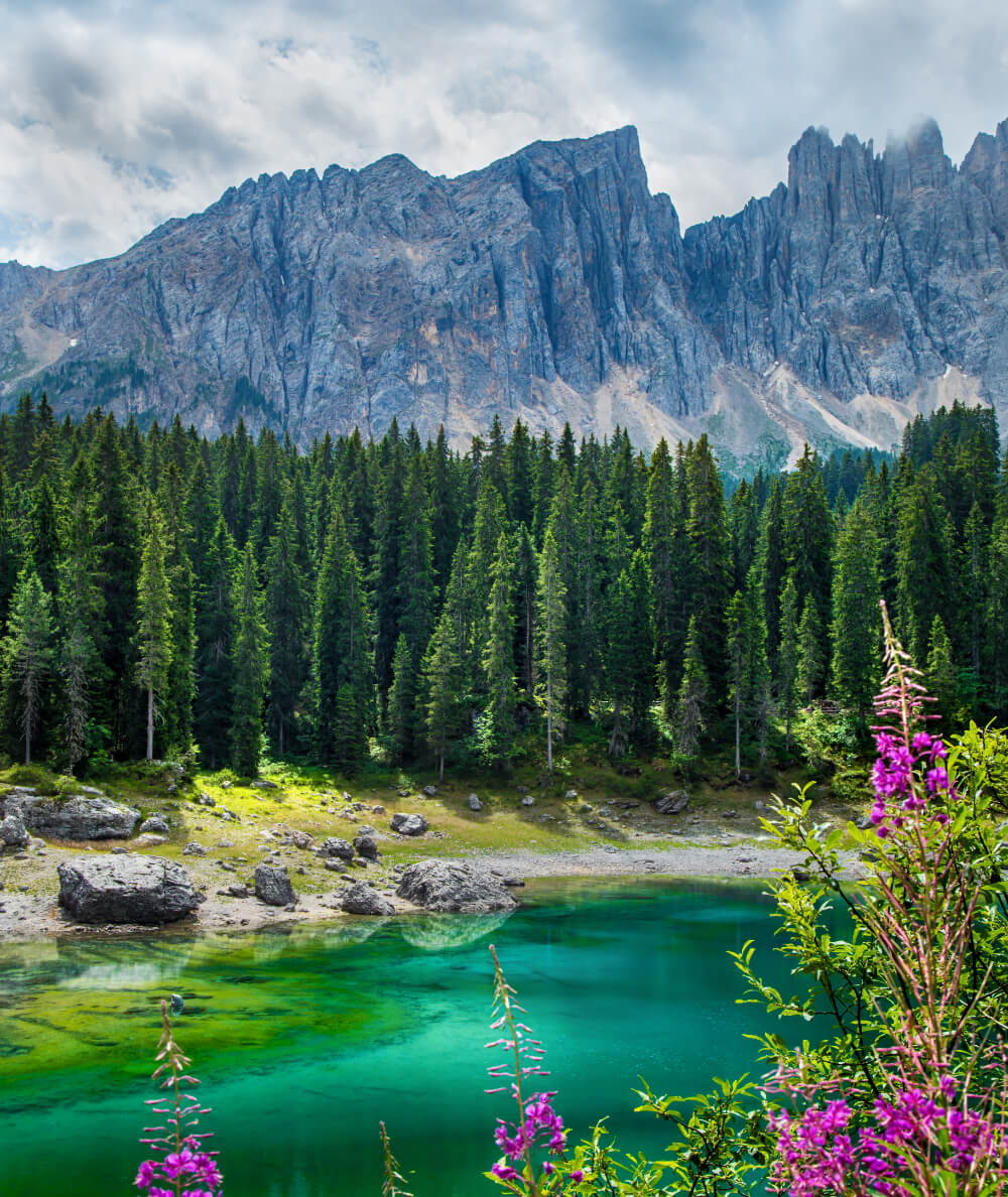Hiking Lago di Carezza in summer