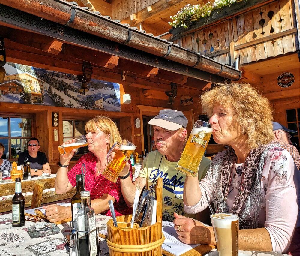 Drinking Beer at Malga Schgaguler Schwaige