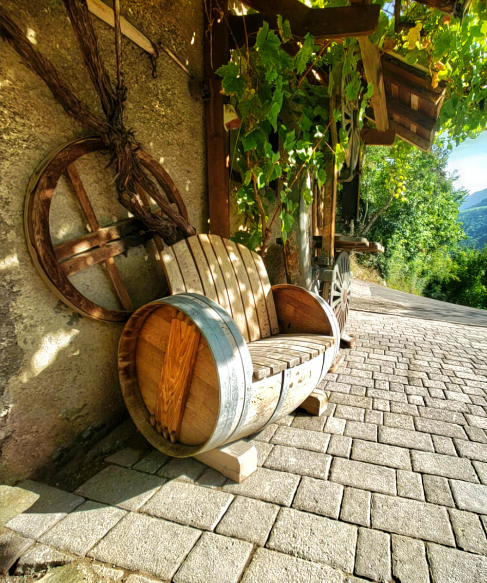 Wine Barrel Bench at Prackfolerhof